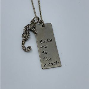"""Take me to the ocean necklace sterling chain 17"""""""